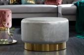 Hocker Modern Barock 55cm grau gold/ 40728