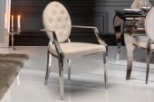 Stuhl Modern Barock beige Samt Armlehne/ 40797