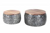 Couchtisch Stone Mosaic 2er Set 65cm grau/ 41384