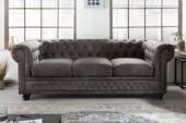 Sofa Chesterfield II 3er 205cm vintage grau taupe/ 40517