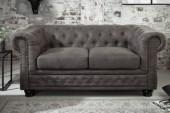 Sofa Chesterfield II 2er 150cm vintage grau taupe/ 40518