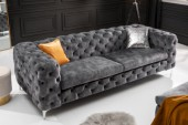 Sofa Modern Barock 240cm dunkelgrau Samt/ 41134
